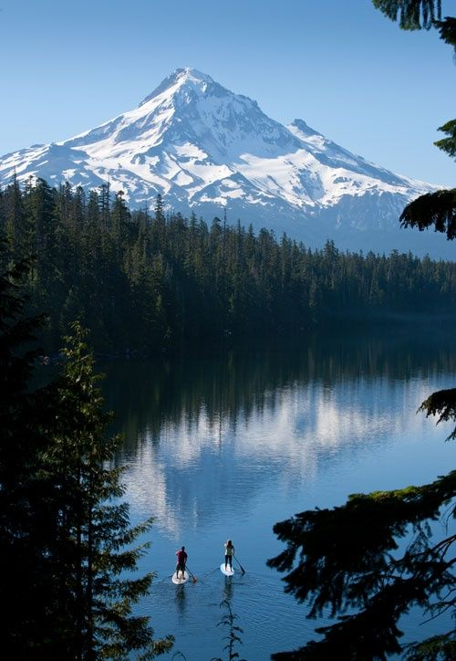 Stand up paddle in the north, with the mountains #OregonSUP Mt. Hood?