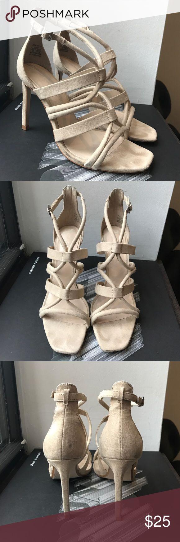 Cream high heel strappy sandal. Faux suede. Zara Cream high heel strappy stiletto sandal.  Brand Zara.  Worn one time.  Zara, Nasty Gal, Revolve, Shop Bop, ASOS, Nordstrom, Zara Shoes Heels