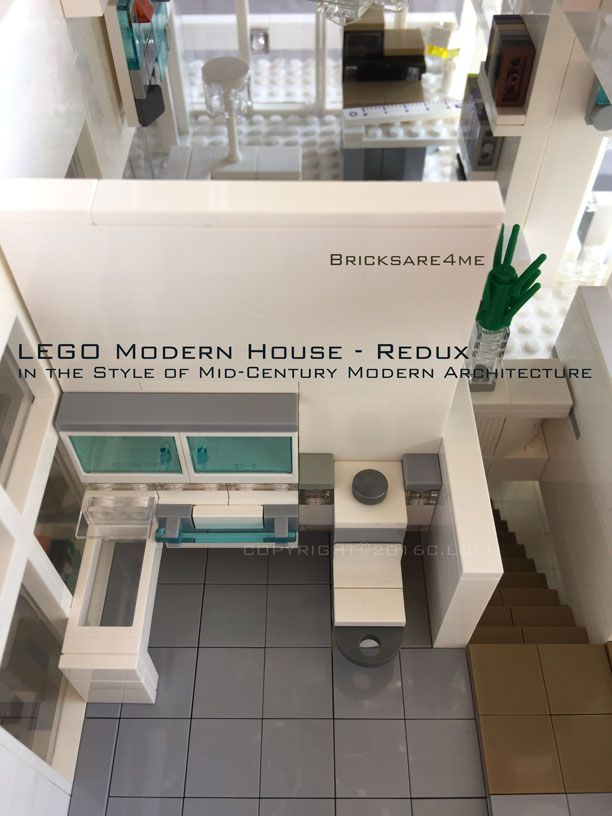 lego modern house redux in the style of mid century modern architecture second floor bathroom and craft roomoffice with framed stairs house is in - Midcentury Bathroom 2016
