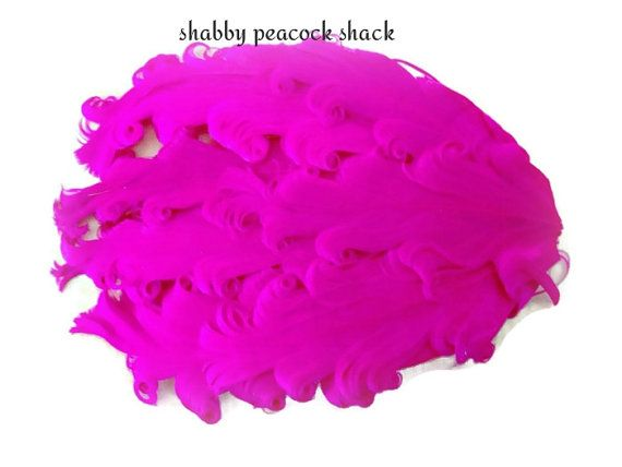 Hot Pink Curly Nagorie Feather Pad, Goose Feather Pad for Headband, DIY Baby Headbands, Feather Pad, Wholesale Headband Supplies