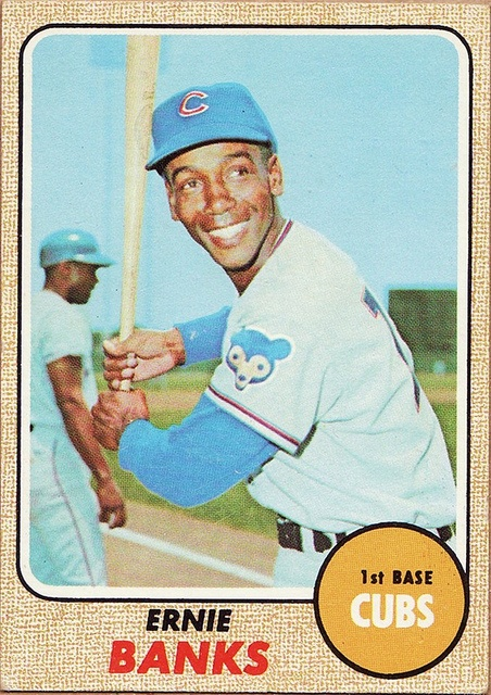 1968 Topps Ernie Banks Chicago Cubs Baseball Cards Cubs Players Baseball