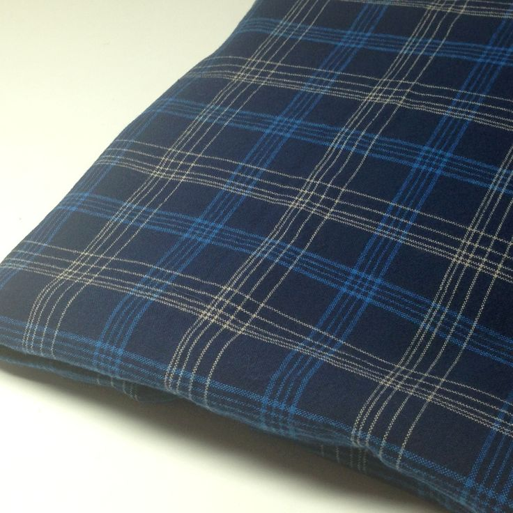 Blue Plaid Fabric, Sewing Material, 1 yd Mystery Fabric, Navy Blue Plaid Fabric