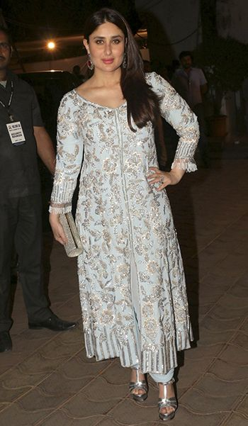 Kareena Kapoor Khan in a Manish Malhotra outfit, Amrapali earrings, Jimmy Choo clutch, and YSL sandals