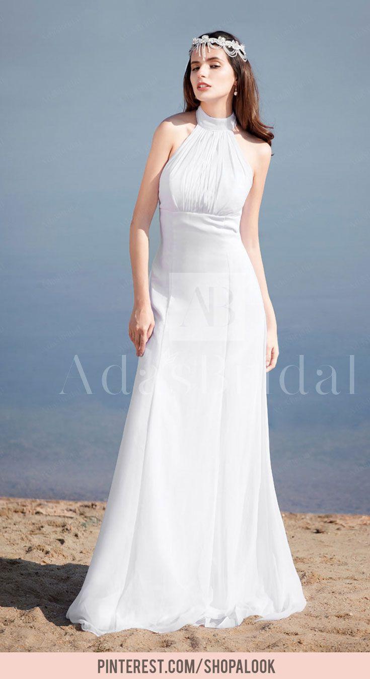 Discount wedding dresses elegant chiffon high collar neckline sheath