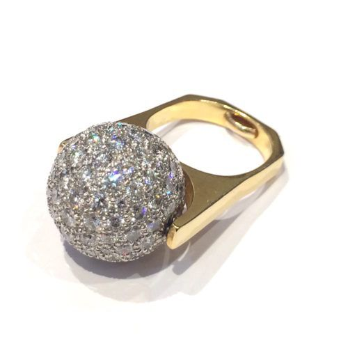 Dinh Van for Cartier diamond ring, rotating sphere pavé-set with round diamonds (approx. 8 carats TW), fitted on an angular shank, signed, c. 1970