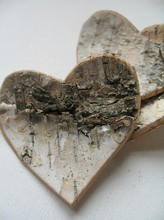 Birch bark hearts