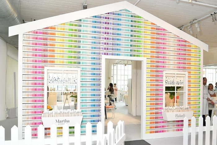 "For the launch of the new Martha Stewart Crafts paint line at Michaels craft stores, David Stark Design and Production created a life-size ""house"" made from of 2,710 bottles of paint. The house was displayed during an event at Hudson Studios in New York."