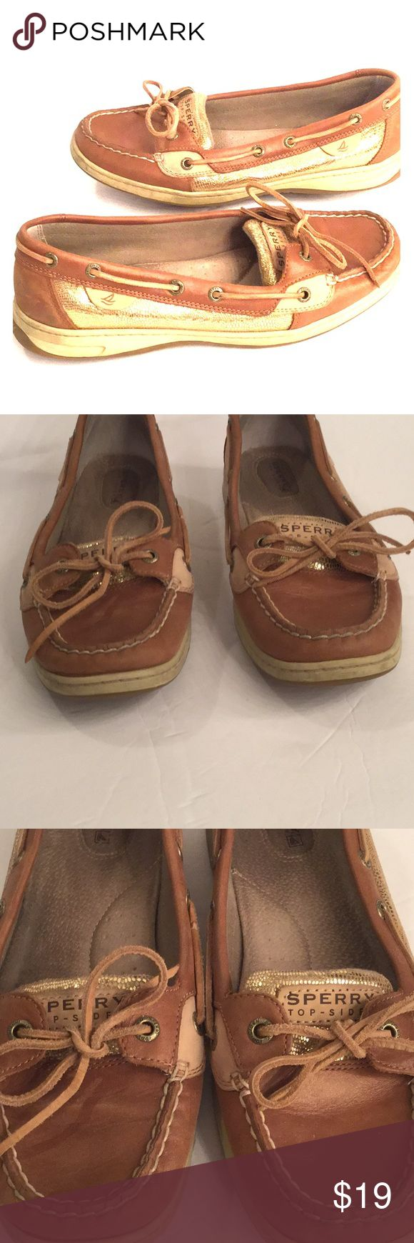 """Sperry Top-Sider Gold/Leather Slides Sperry Top-Sider Gold/Leather Slides. Size 10. Gold/brown/tan. Good preowned condition showing signs of wear (dirt, few marks, see pics of all angles to show exactly what you're receiving). Reasonable offers welcomed using """"Offer"""" button only. Thanks. Sperry Top-Sider Shoes"""