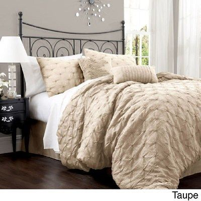 Beautiful classic xxl ivory white textured floral soft for Black white taupe bedroom