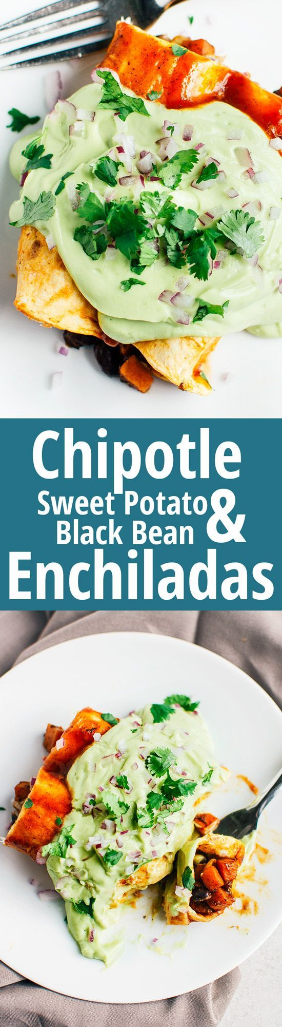 Chipotle Sweet Potato & Black Bean Enchiladas - These spicy enchiladas do not skimp on flavor, and just to be sure they are smothered in a delicious avocado cream. (Vegan & GF) | RECIPE at NomingthruLife.com