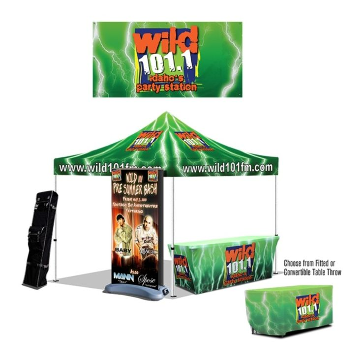 Essential Kit - Customized - (1) 10x10 Tent Full Digital + Frame - (1) Tent Roller bag - (1) Double-Sided Water Base Retractable Banner Stand - Vinyl w/ Bag - Choice of (1) 6' Trufit Table Cloth or (1) 6'-8' Convertible Table Cloth (Full Digital) Price Starts: $1655