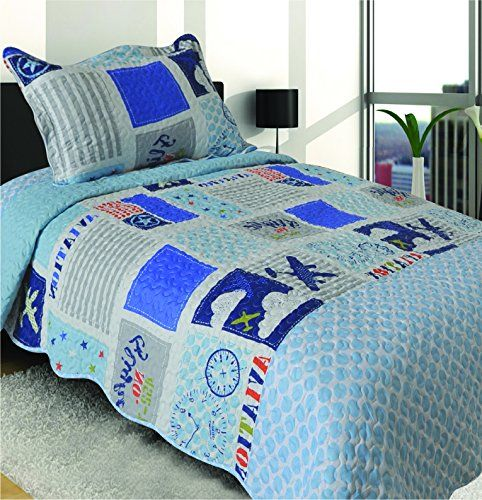 Mk Collection Twin Size 2 Pc Bedspread Boys Aircraft Planes White Blue Bed Cover New 009 >>> Visit the image link more details.