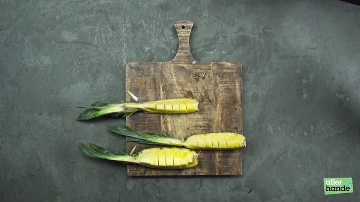Ananas snijden hoeft geen gedoe te zijn, kijk maar. En je geeft er net zo makkelijk een feestelijke draai aan. - How to... - Allerhande
