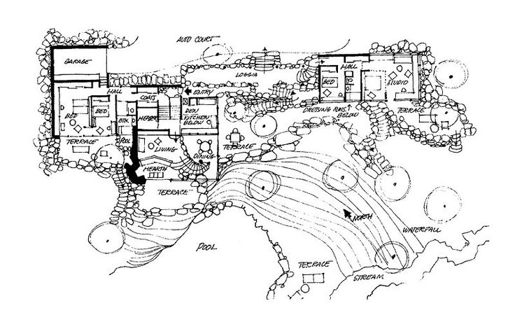 Russel Wright's Handmade Rock Home in Manitoga, New York | Floor Plan