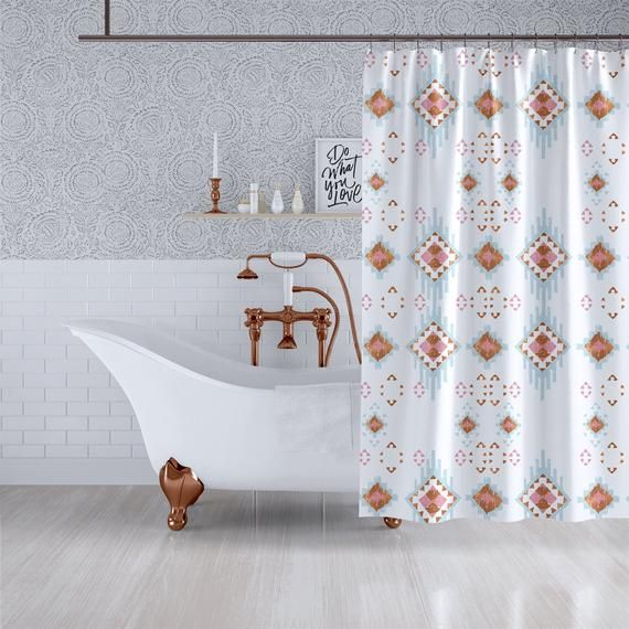 Bohemian Ikat Copper Pink Blue Shower Curtain Geometric Triangle Fabric Bathroom Curtain 70x70 83x70 90x70 In 2020 Blue Shower Curtains Bathroom Curtains Fabric Shower Curtains