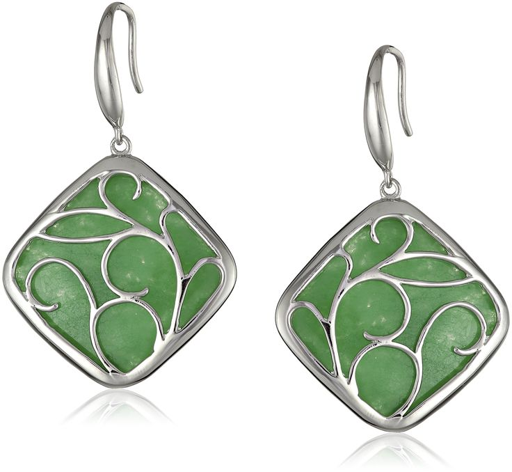 Sterling Silver Earrings with Green Jade Drop: