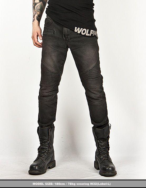 Washed Tough Chic Black Designer Skinny Biker Jean