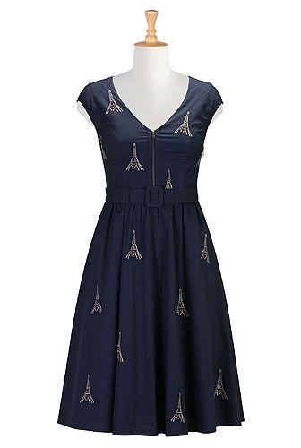 Paris embroidery poplin dress from eShakti