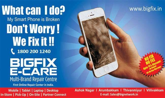Broken Phone, Dont worry! We can help - www.bigfix.in   18002001240