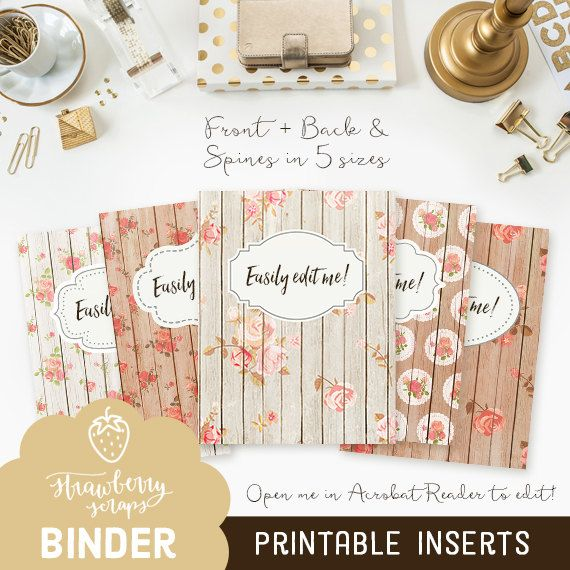 Binder inserts: ROSES & WOOD 5x set Covers and by StrawberryScraps - Binder Cover Templates - Binder Covers