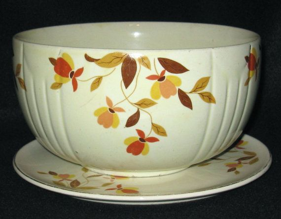 Hall China Autumn Leaf Radiance Bowl u0026 Cake by TheGlassCottageShop : autumn leaves dinnerware - pezcame.com