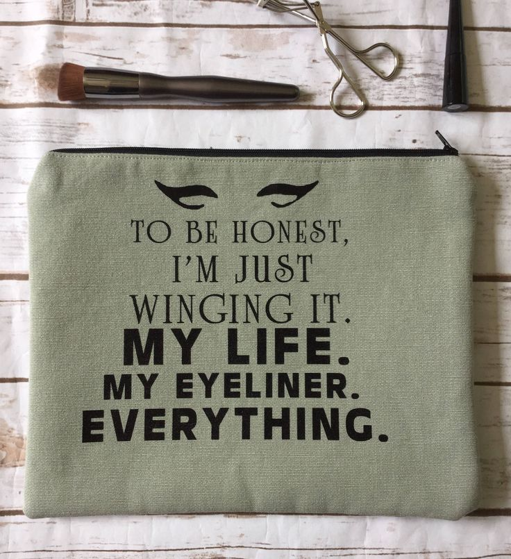 I'm Just Winging It Funny Cosmetic Truth Quote Cosmetologist  Gift Cosmetics Bag Makeup Artist Bag iPad Case Cosmetic Bag Canvas Cosmetic by GaussHaus on Etsy
