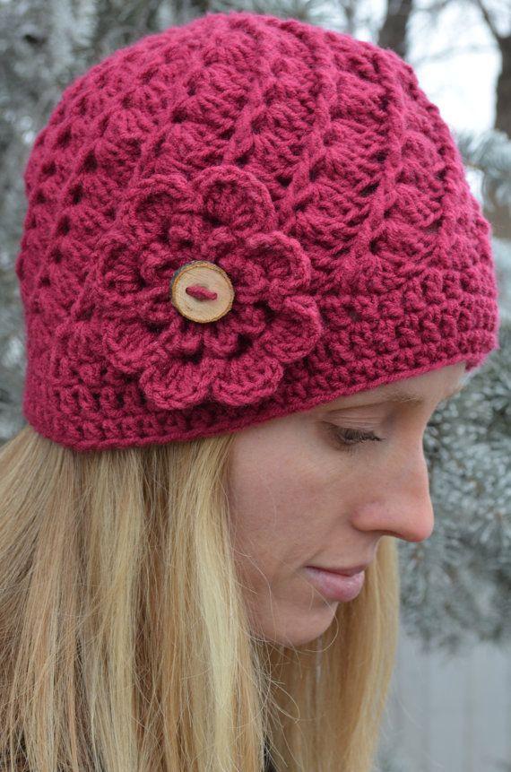 Swirl crochet beanie with flower