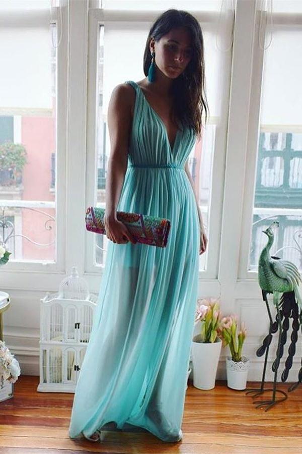 Flowy Blue Chiffon V-neck Simple Cheap Long A-line Backless Prom ...
