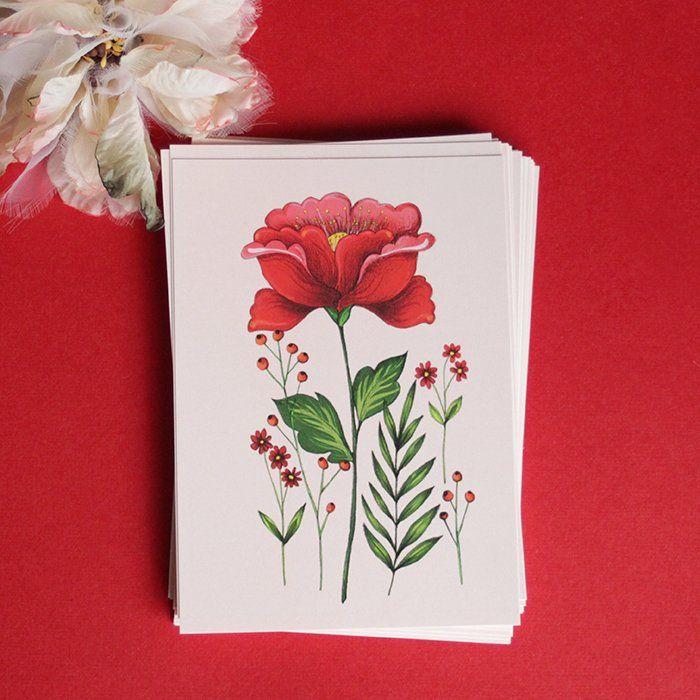 Carte postale «Flora Pink» - MinaSmoke: la boutique  #botanical #flower #red