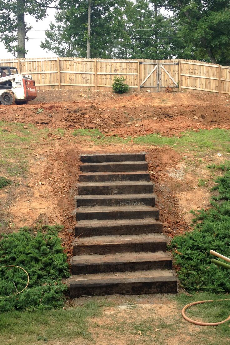 Rail road ties stairs landscaping stairs the counting for Landscape stairs design