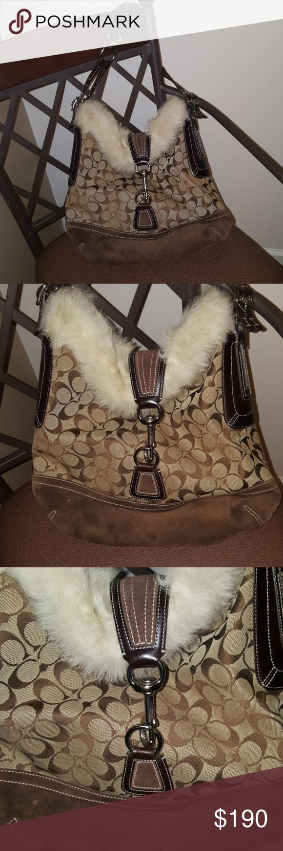 Absolutely fabulous Coach bag Excellent pre-loved condition, brown tones with brown leather strap accented by silver hardware and cream fur at top. Beautiful bag! Bundle for additional discount. Coach Bags
