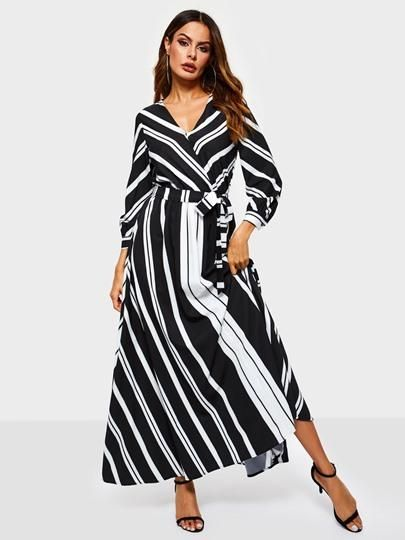 0d5f5192e0d Three-Quarter Sleeve V-Neck Stripe Print Womens Maxi Dress