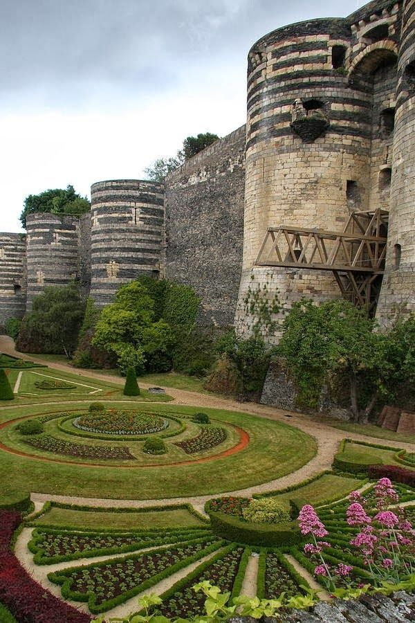 I like how the plantings pick up on  Chateau d Angers, France