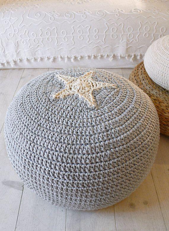 Pouf Crochet Star ecru and grey