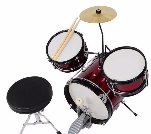 3pcs 8inch Junior Kids Drum Set Red w/ Cymbal Drum Throne