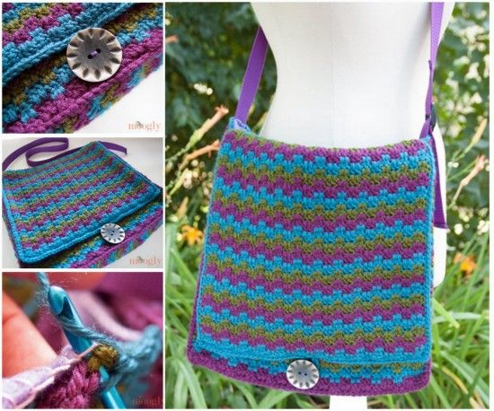 This Crochet Messenger Bag Pattern is a handy size bag that will hold all your larger items. It looks great and it's a quick and easy FREE Pattern.