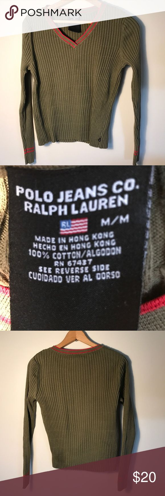 Polo Jeans Co. Ralph Lauren sweater Dark green sweater with red trim.  100% cotton. A god quality made sweater. Gently used , in great shape.  Zoom in to see the textured knit. Polo Jeans Co. Ralph Lauren  Sweaters