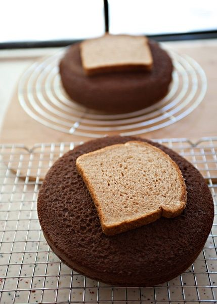 Cake Cooling Tip: When cooling cake layers, place bread slices on top to keep the cake layers soft and moist while the bread becomes hard as a rock -- What a fun fact!!! My mom told me it keeps it from cracking in the middle too...
