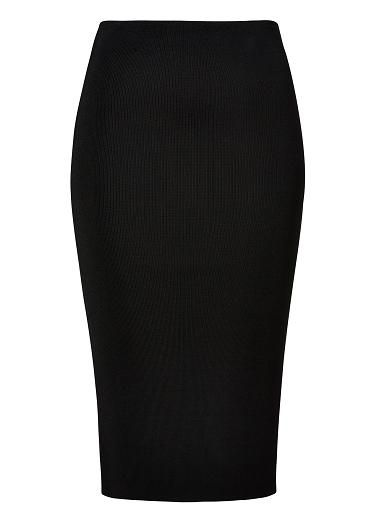 Viscose/Nylon/Elastane Crepe Knit Midi Skirt. Neat fitting silhouette features an internal elasticsed waistband with mid length hem in an all over crepe knit fabrication. Available in various colours as shown.