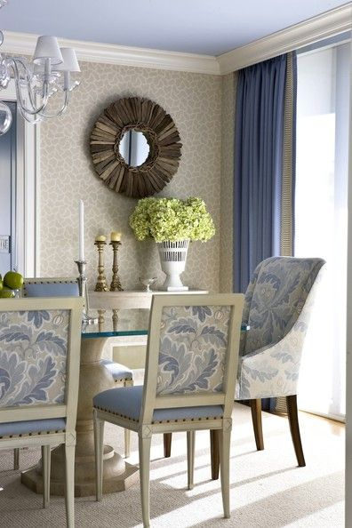 A Peek at Kelley Proxmire's Recent Projects...love the blue ceiling and the fabric on the chairs