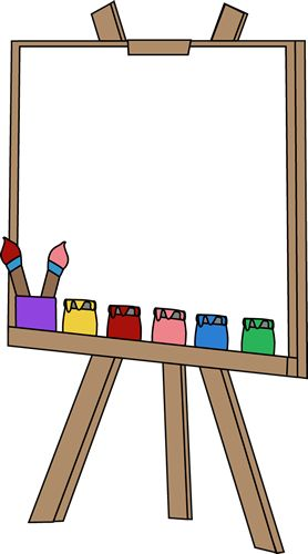 Blank Paint Easel Clip Art Image - an art easel with a blank canvas, jars of paint, and paint brushes.      Instructions: To use for a pri...