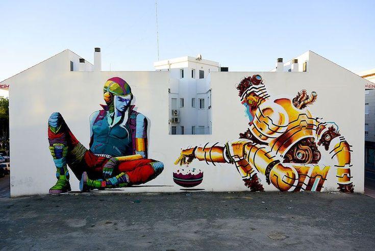 "via whudat - Artist: Deih & Xelon ""Playing the Game""- City: Torre-Pacheco , Spain #StreetArt #urbanart"