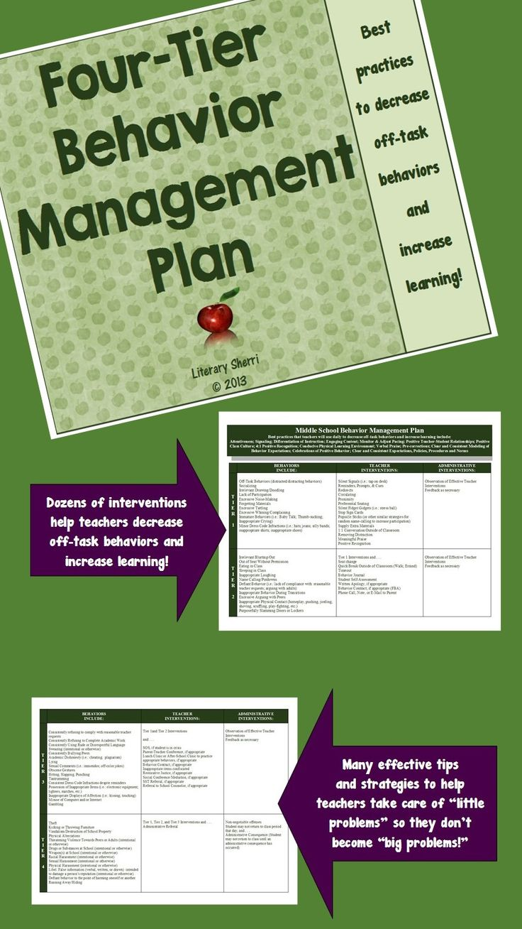 This Behavior Management Plan, specifically tailored to Middle School and High School, includes dozens of behaviors and interventions, classified into four tiers to help you scaffold interventions as behaviors escalate or de-escalate. Decrease off-task behaviors and increase learning with these best practices! #classroommanagement #behaviormanagement