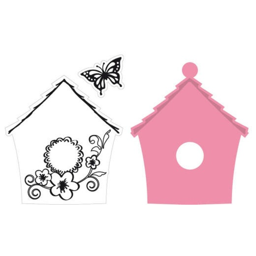 Marianne Design Collectables Cutting Dies & Clear Stamps - Birdhouse Flowers COL1308 - 27,50Lt