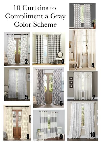 Curtains to Compliment a Gray Color Scheme.  Farmhouse Curtains.  Striped Curtains.  Buffalo Checked Curtains. Ruffle Curtains. Living Room curtains.