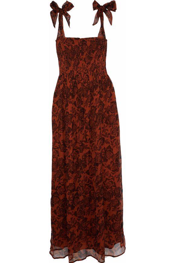 5c84e5e317def GANNI Bow-detailed shirred floral-print georgette midi dress | Style ...