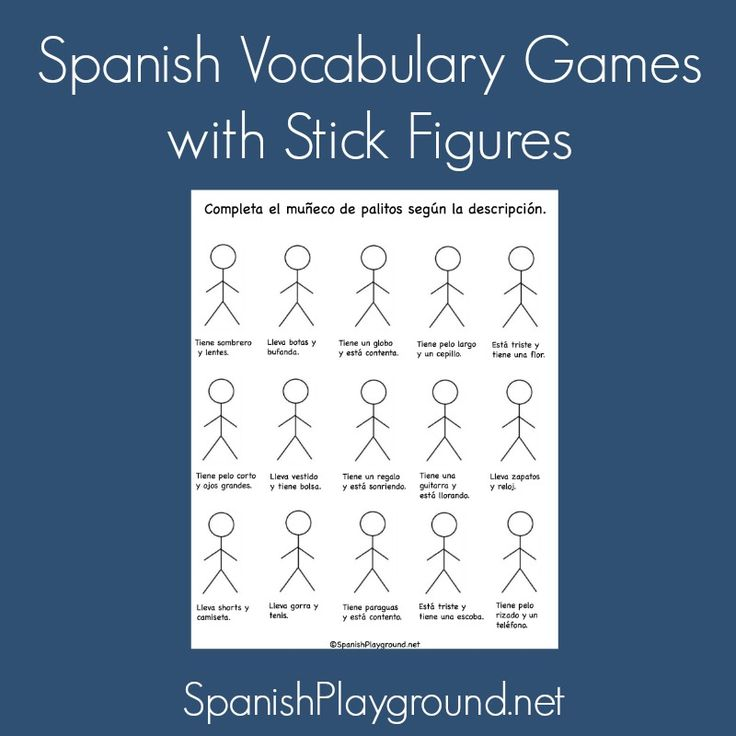 Fun ideas for Spanish activities with stick figures - use them as Spanish listening activities, Spanish reading activities, to practice Spanish vocabulary and to play Spanish games. From Spanish Playground. #Free Spanish printables #Spanish for kids http://spanishplayground.net/spanish-vocabulary-games-stick-figures/