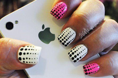 : Nails Art, Nailart, Nails Design, Pink Nails, Nailsart, Polka Dots Nails, Naildesign, Black White, Rain Drop
