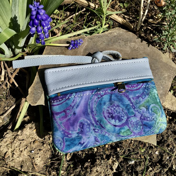 Leather wallet change purse credit card case tiny Clutch Aqua Blue Paisley Batik Boho everyday use unique gift for her Pat Halpen Leather by SkyPathDesign on Etsy