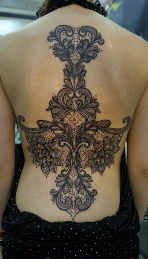 lace tattoo | for females on their garments, costume or wedding dress. Lace tattoo ...